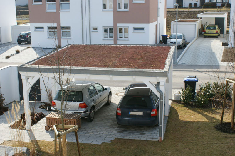 flachdach carport flachdachcarport mit extensiver dachbegr nung. Black Bedroom Furniture Sets. Home Design Ideas