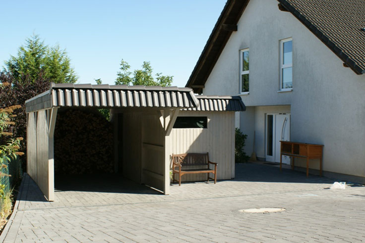 flachdach carport flachdachcarport mit seitlichem ger teraum. Black Bedroom Furniture Sets. Home Design Ideas