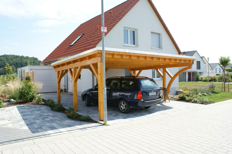 flachdach carport doppelcarport mit extensiver dachbegr nung. Black Bedroom Furniture Sets. Home Design Ideas
