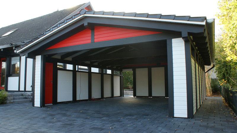 spitzdach carport mit horizontal verlegter fassadenverschalung mit nut und feder verbindung. Black Bedroom Furniture Sets. Home Design Ideas