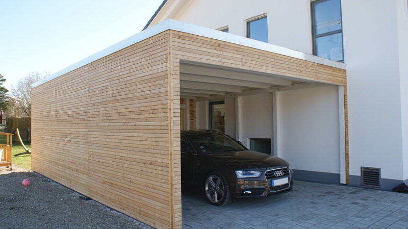 flachdach carport mit dachterrasse und extensiver. Black Bedroom Furniture Sets. Home Design Ideas