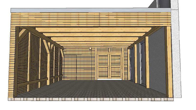 flachdach carport mit dachterrasse und extensiver dachbegr nung. Black Bedroom Furniture Sets. Home Design Ideas